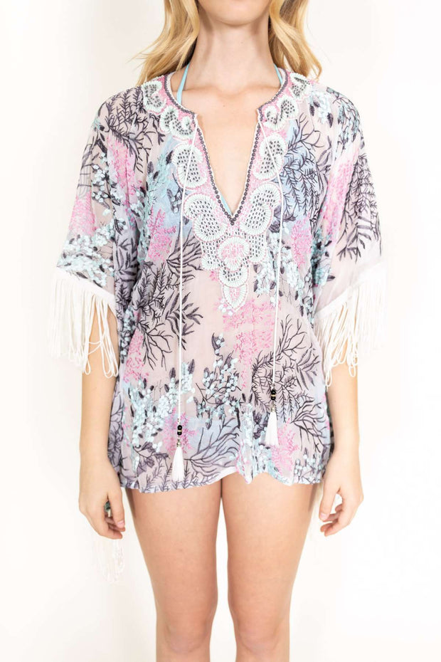 Taj Short Fringe Coverup