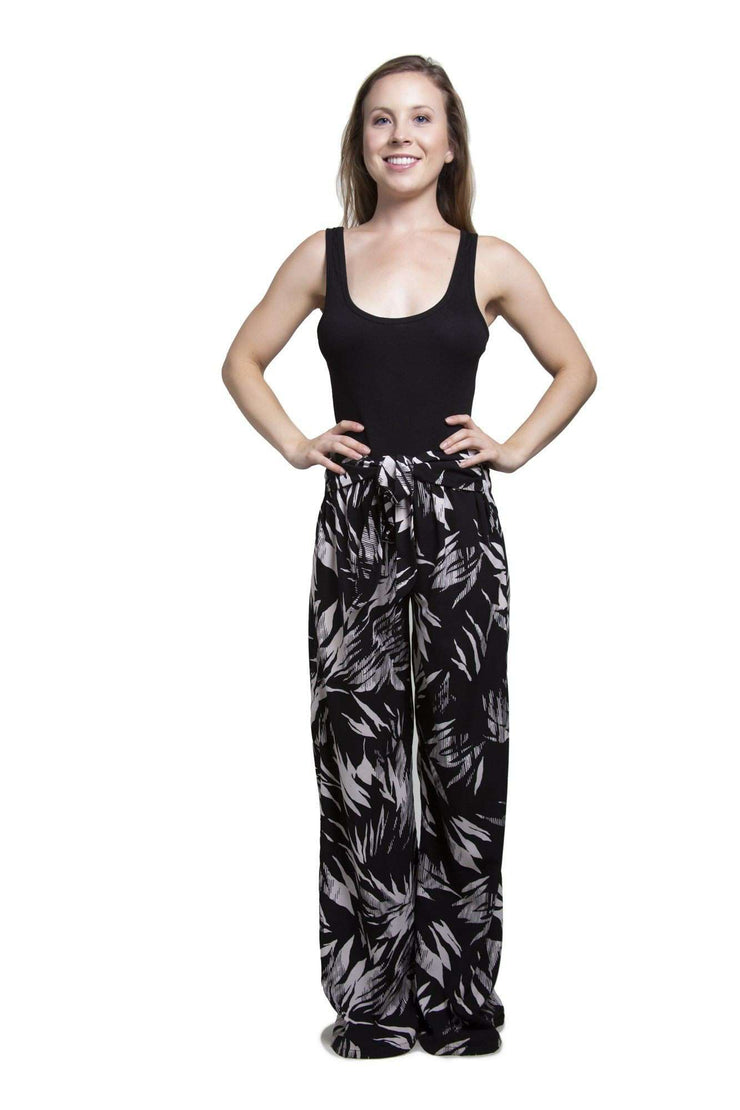 Leaf Print Black Pants