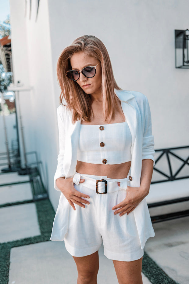 Mumu White Crop Top