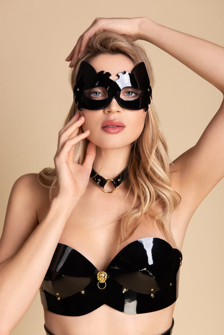 Black Italian Patent Leather Bra