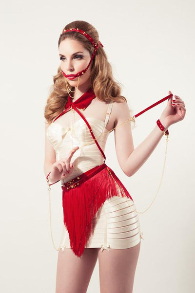 Red Fringe Skirt with Handcuffs
