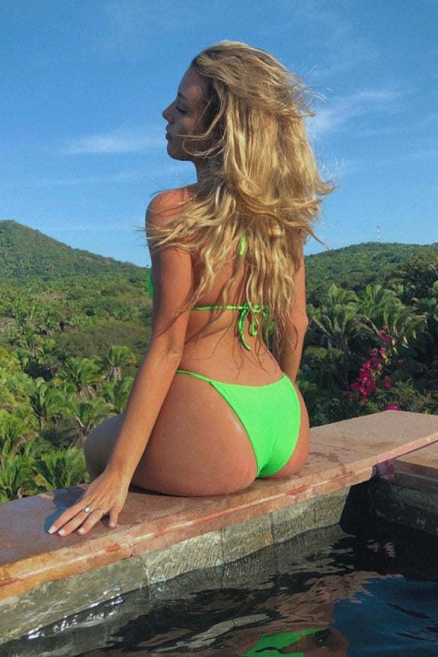 Neon Green String Bikini Bottoms