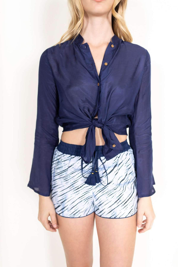 Piper Solid Silk Blouse Navy
