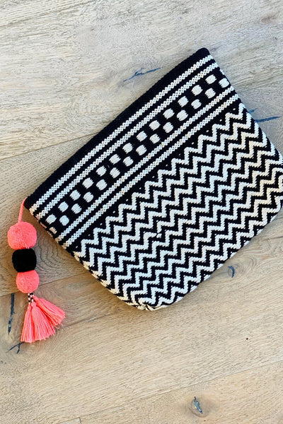 Tahiti Clutch with Pom-Pom Tassel