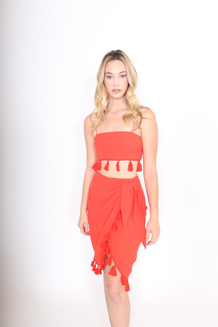 Red Scarf Top with Tassels