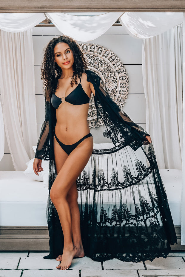 Taj Black Lace Robe