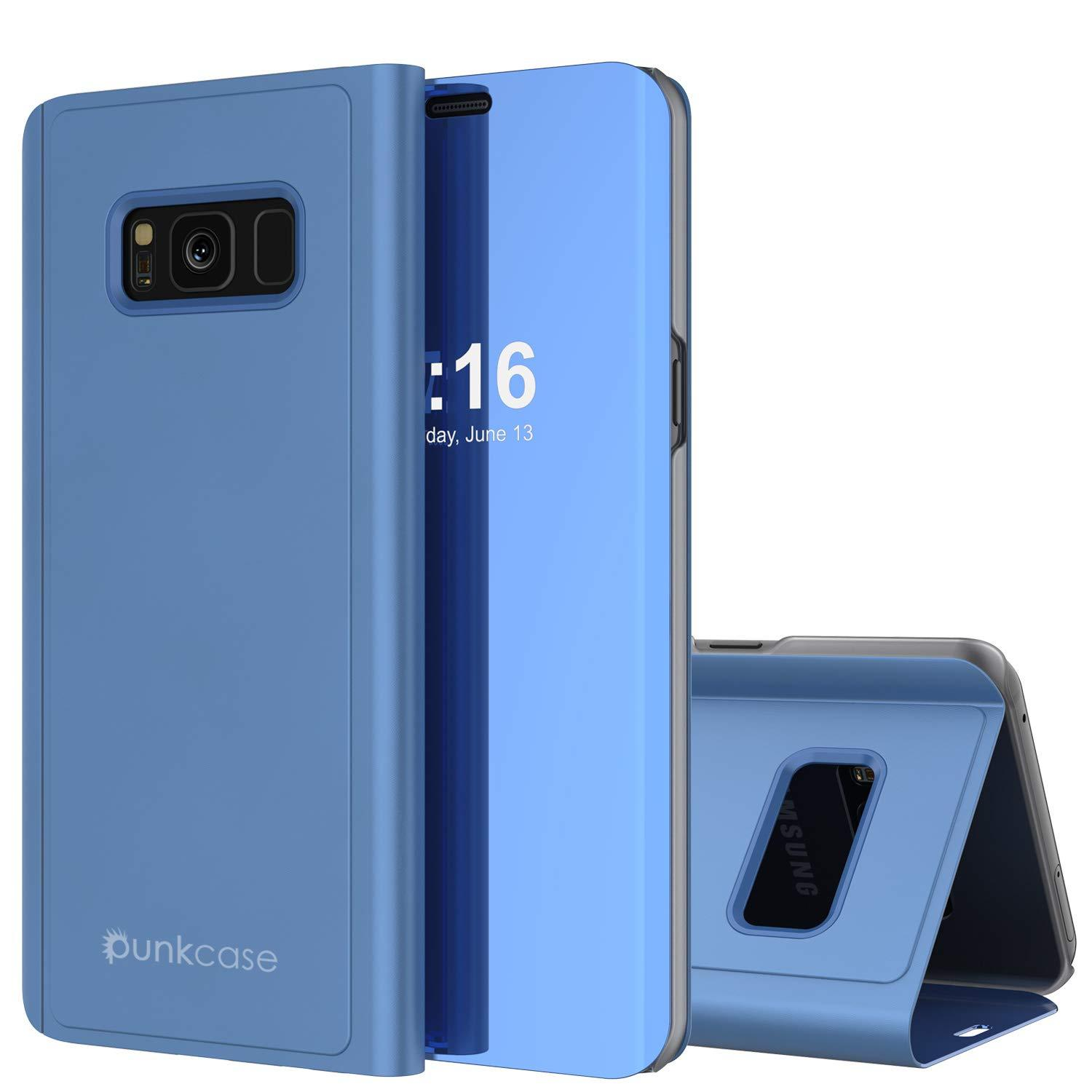 Punkcase S8  Reflector Case Protective Flip Cover [Blue]