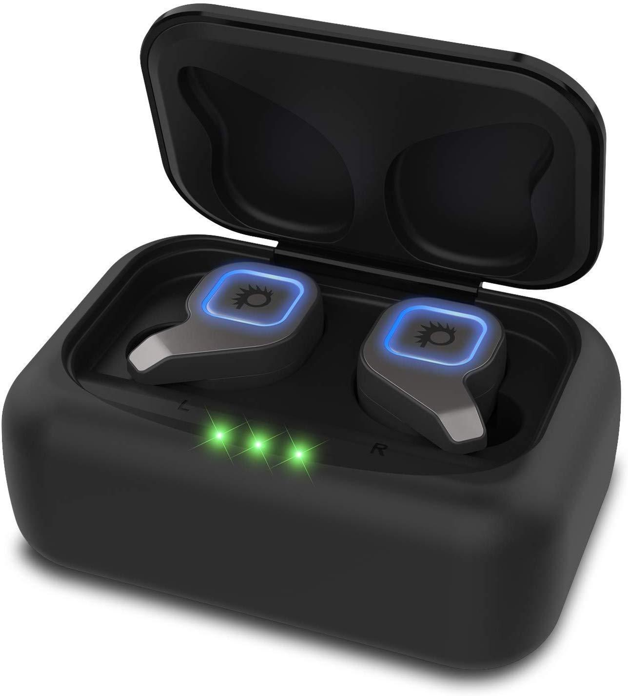 PunkBuds 2.0 True Wireless Earbuds, Mini Bluetooth Headphones W/ Charging Case & Built-In Noise Cancelling Mic. [Black]