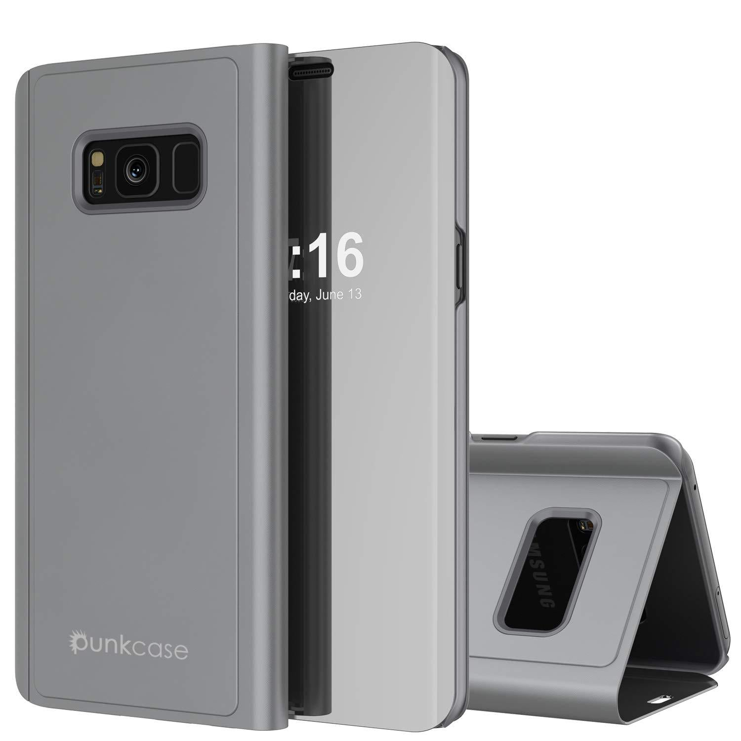 Punkcase S8  Reflector Case Protective Flip Cover [Silver]