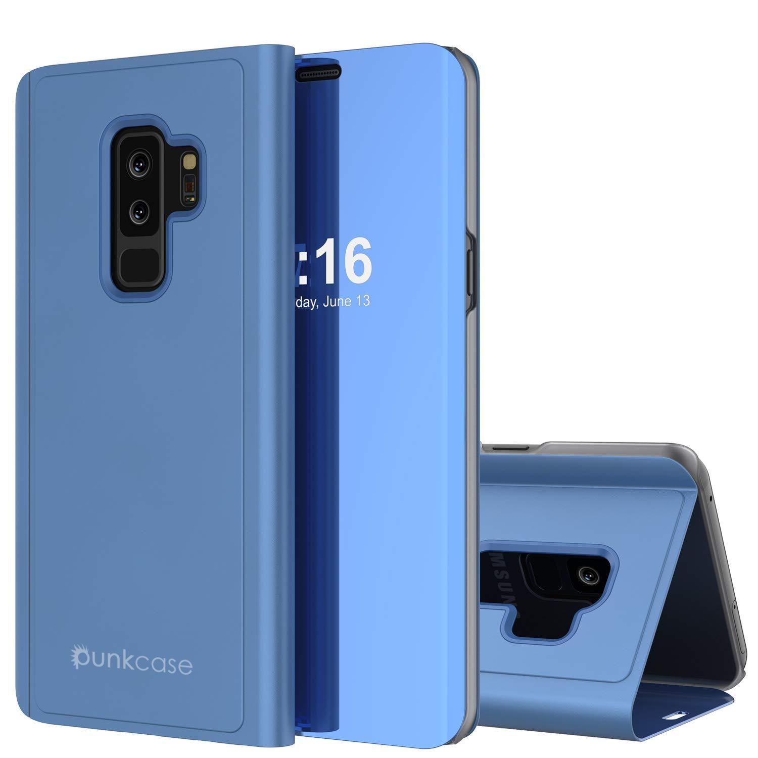 Punkcase S9 Plus Reflector Case Protective Flip Cover [Blue]