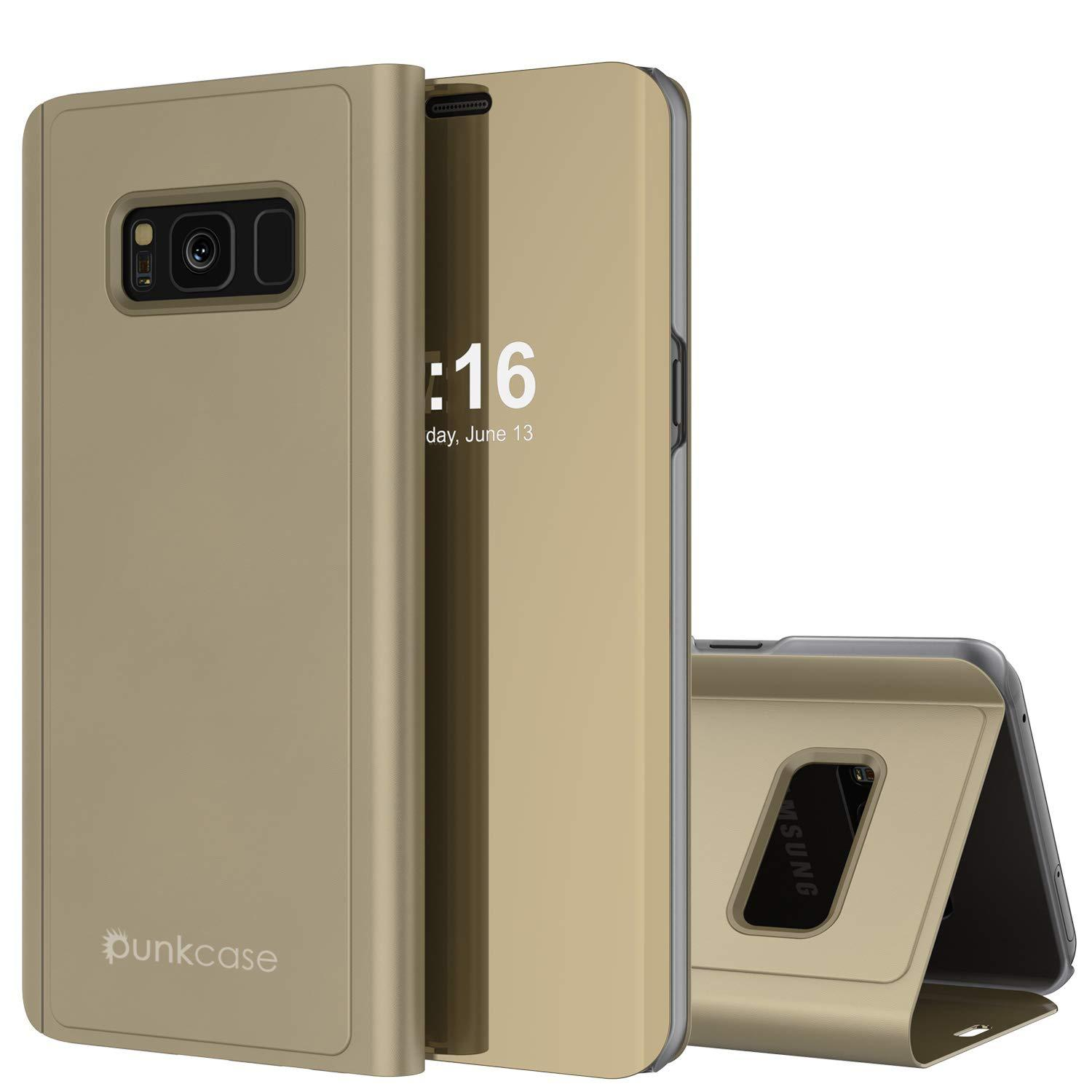 Punkcase S8  Reflector Case Protective Flip Cover [Gold]