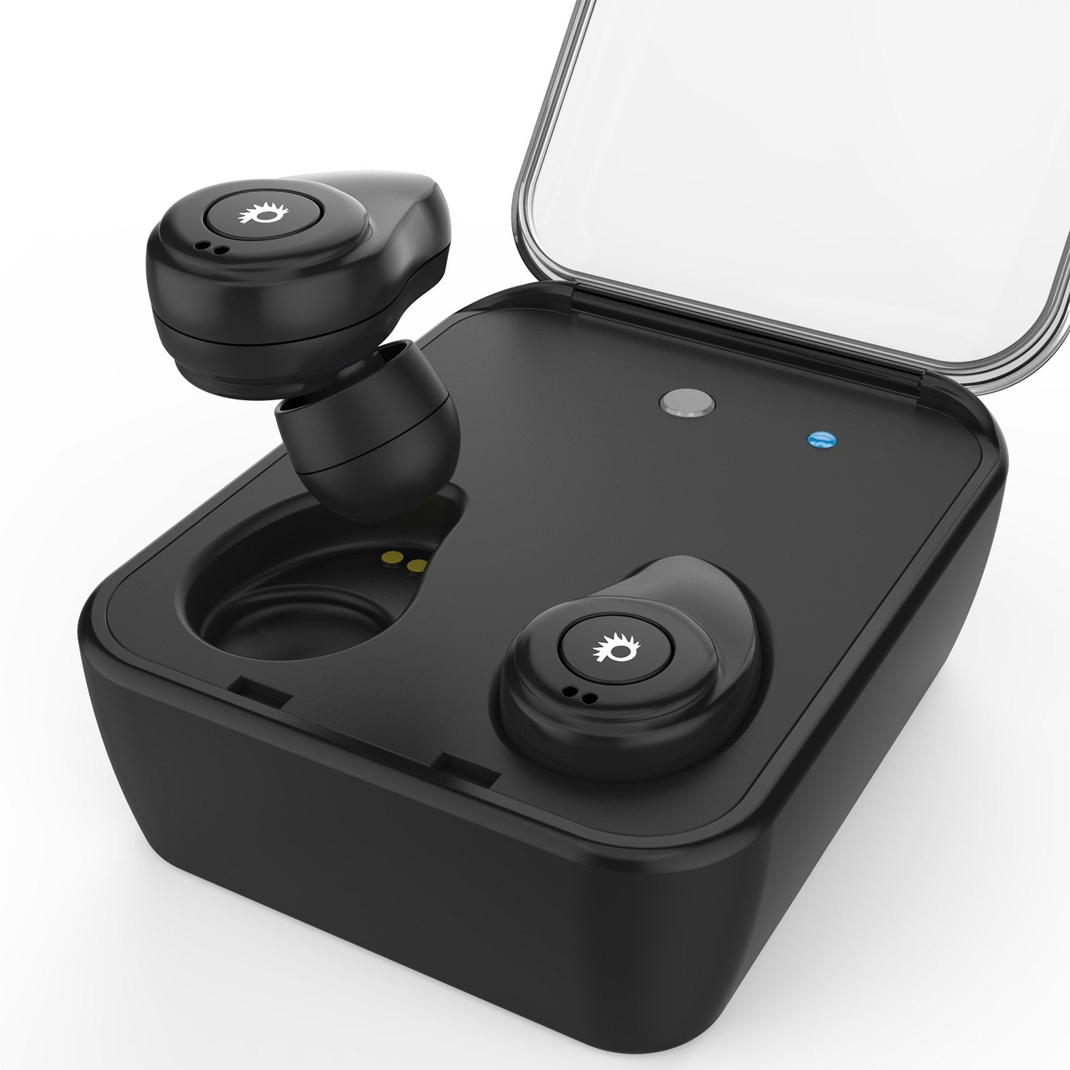 PunkBuds True Wireless Earbuds, Mini Bluetooth Headphones W/ Charging Case & Built-In Noise Cancelling Mic. [Black]
