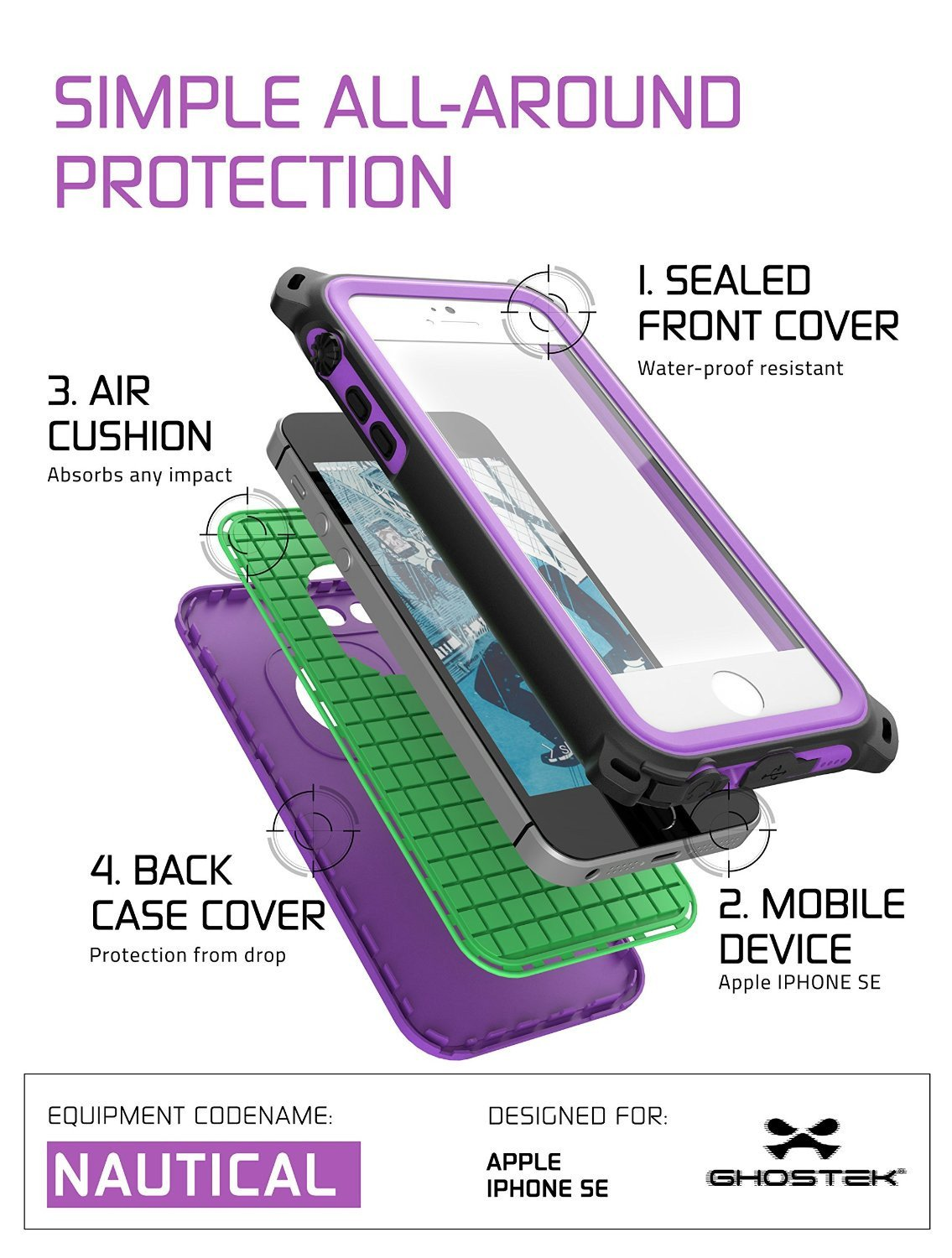 iPhone SE/5S/5 Waterproof Case, Ghostek® Nautical Purple Series| Underwater | Aluminum Frame