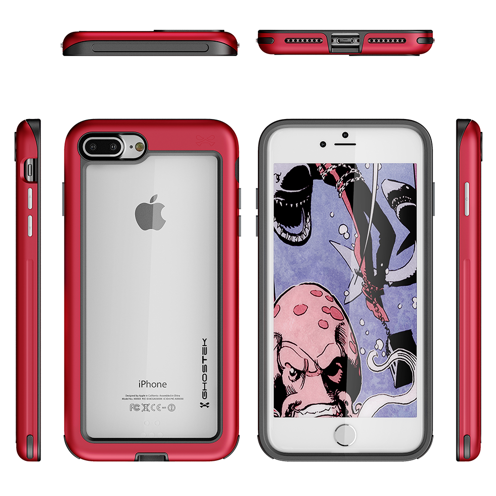 iPhone 8+ Plus Waterproof Case, Ghostek® Atomic Series for Apple iPhone  8+ Plus | Underwater | Shockproof | Dirt-proof | Snow-proof | Aluminum Frame | Adventure Ready | Ultra Fit | Swimming [RED]