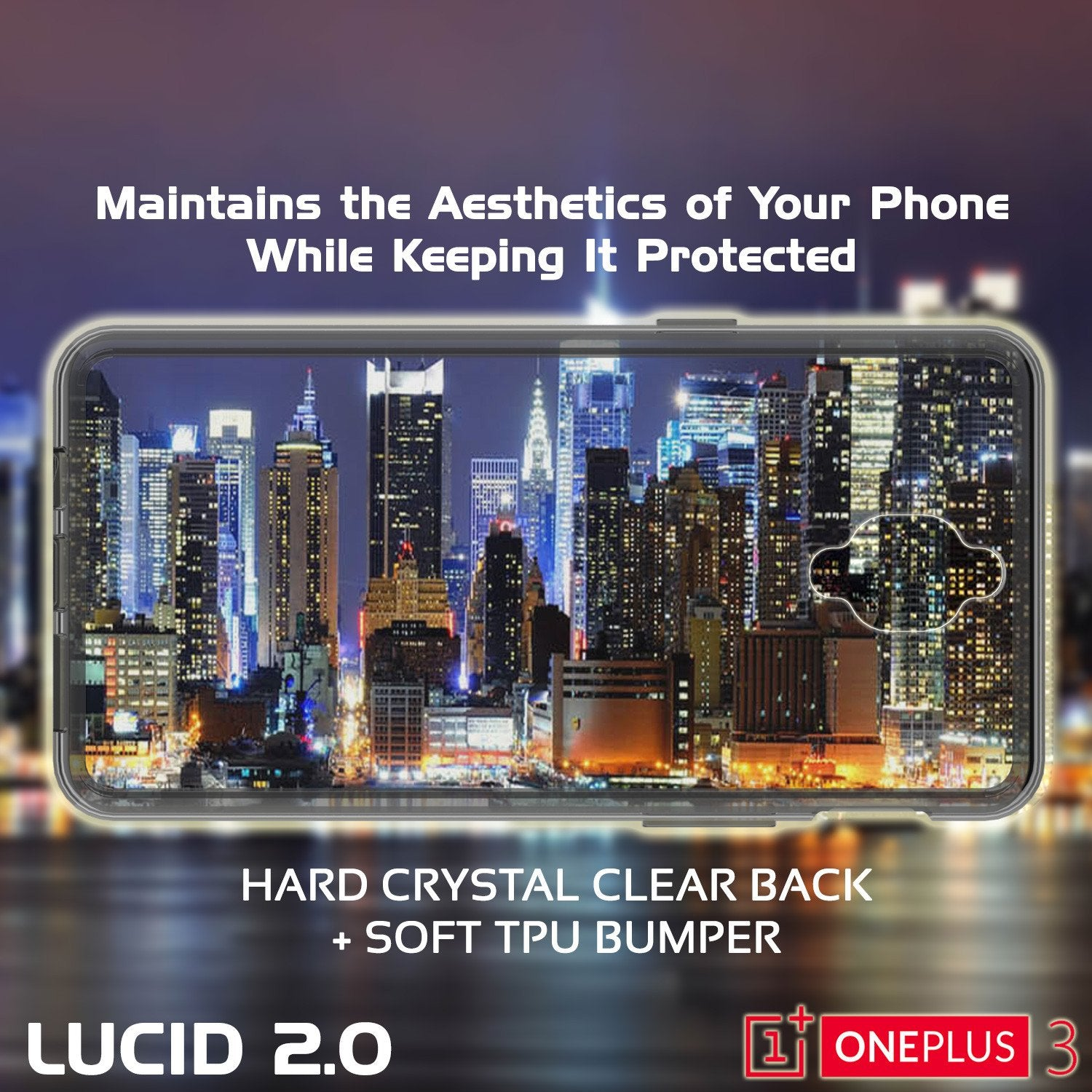 OnePlus 3 Case Punkcase® LUCID 2.0 Crystal Black Series w/ SHIELD GLASS Lifetime Warranty Exchange