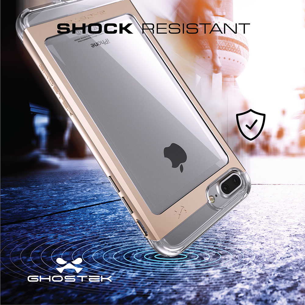 iPhone 7+ Plus Case, Ghostek® Cloak 2.0 Gold w/ Explosion-Proof Screen Protector | Aluminum Frame