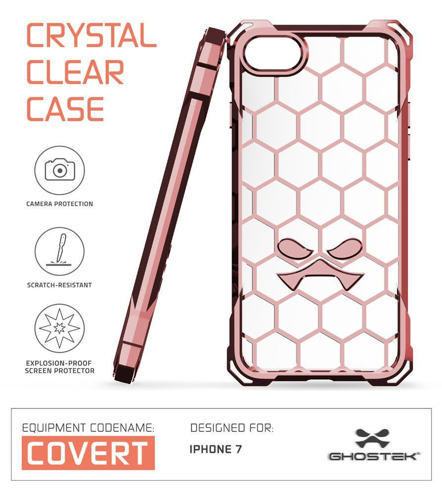 iPhone 8 Case, Ghostek® Covert Rose Pink Series for Apple iPhone 7Premium Impact Protective Armor Case Cover | Clear TPU | Lifetime Warranty Exchange | Explosion-Proof Screen Protector | Ultra Fit (Rose Pink)