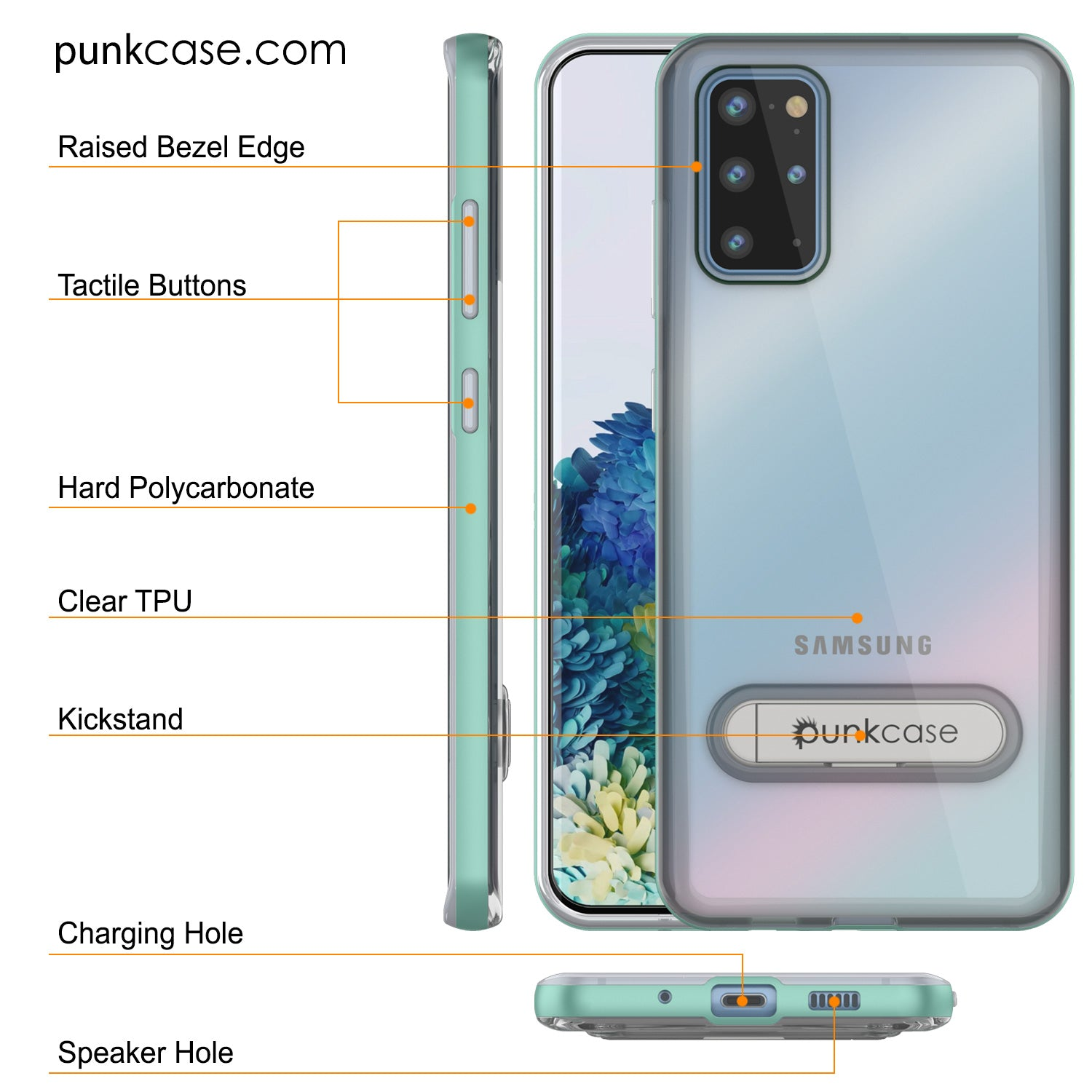 Galaxy S20+ Plus Case, PUNKcase [LUCID 3.0 Series] [Slim Fit] Armor Cover w/ Integrated Screen Protector [Teal]