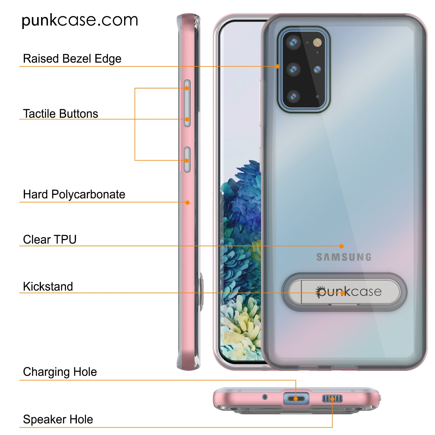 Galaxy S20+ Plus Case, PUNKcase [LUCID 3.0 Series] [Slim Fit] Armor Cover w/ Integrated Screen Protector [Rose Gold]