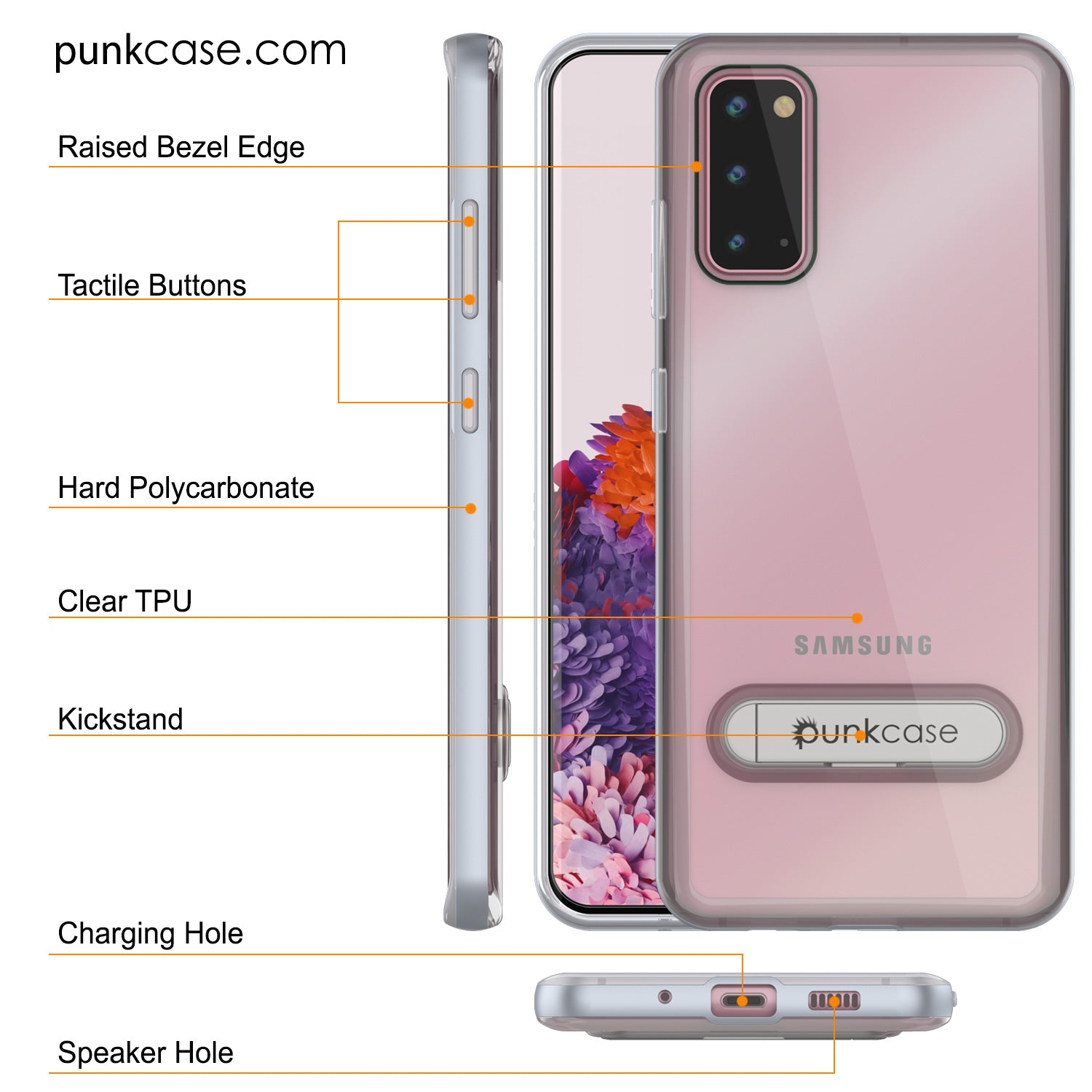 Galaxy S20 Case, PUNKcase [LUCID 3.0 Series] [Slim Fit] Armor Cover w/ Integrated Screen Protector [Silver]