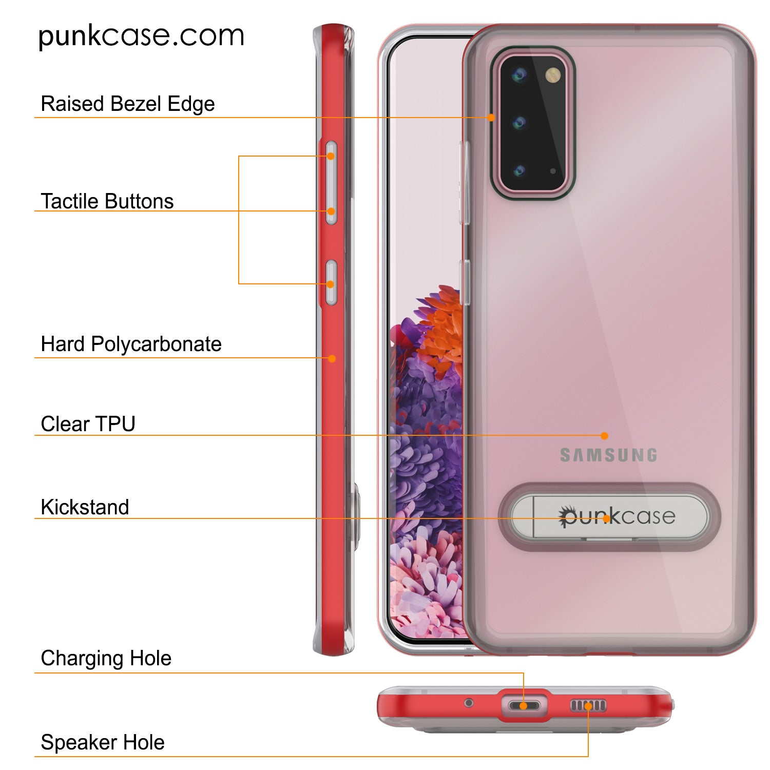 Galaxy S20 Case, PUNKcase [LUCID 3.0 Series] [Slim Fit] Armor Cover w/ Integrated Screen Protector [Red]