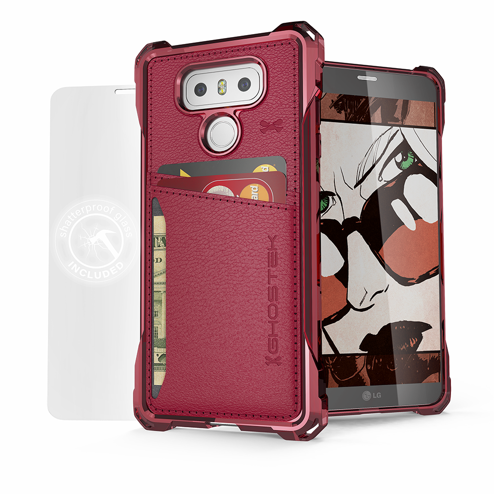 LG G6 Wallet Case, Ghostek® Exec Red Series | Slim Armor Hybrid Impact Bumper | TPU PU Leather Credit Card Slot Holder Sleeve Cover