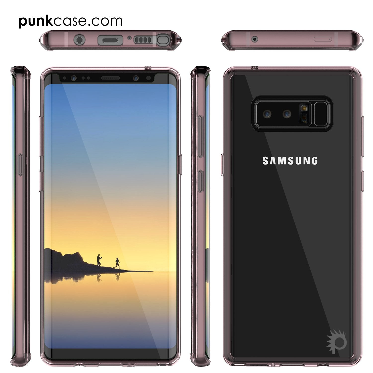 Galaxy Note 8 Case, PUNKcase [LUCID 2.0 Series] [Slim Fit] Armor Cover w/Integrated Anti-Shock System & PUNKSHIELD Screen Protector [Crystal Pink]