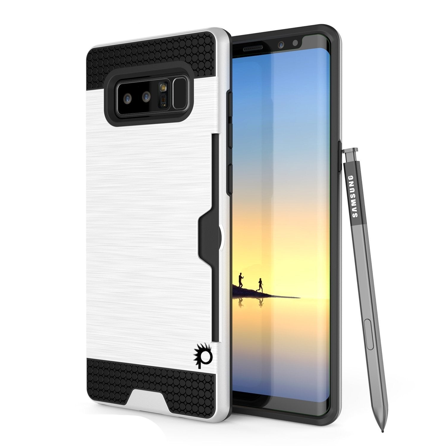 Galaxy Note 8 Case, PUNKcase [SLOT Series] Slim Fit  Samsung Note 8 [Silver]