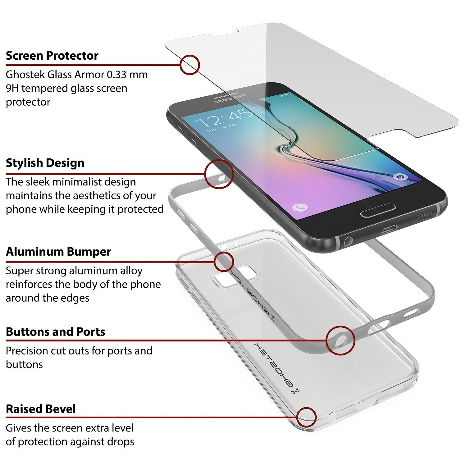 Galaxy S6 Case, Ghostek Cloak Series Silver  Slim Premium Protective Hybrid Impact Glass Armor