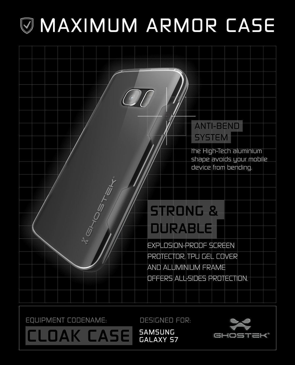 Galaxy S7 Case, Ghostek Cloak Series Black Slim Premium Protective Hybrid Impact Glass Armor