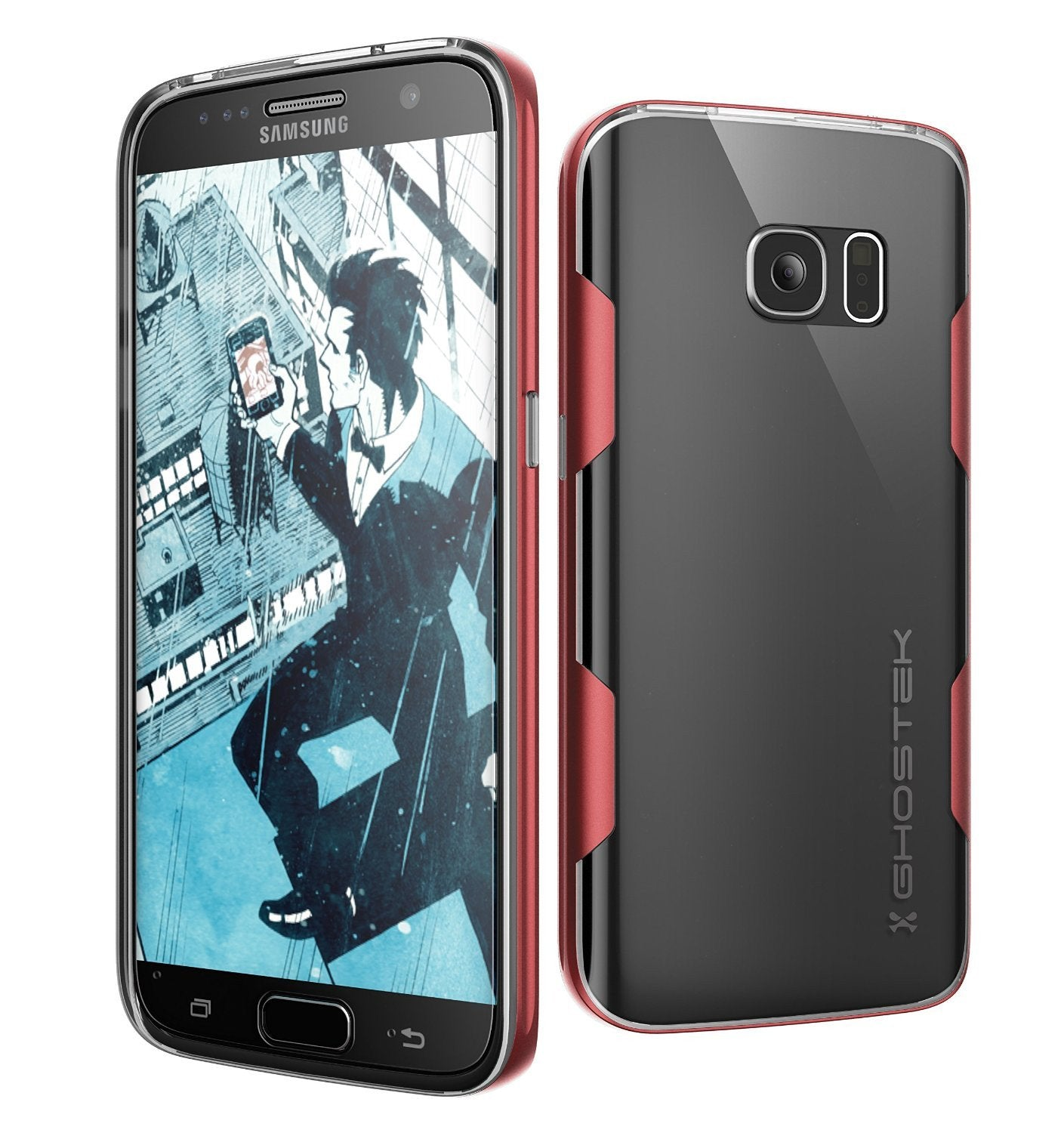 Galaxy S7 Case, Ghostek Cloak Series Red  Slim Premium Protective Hybrid Impact Glass Armor