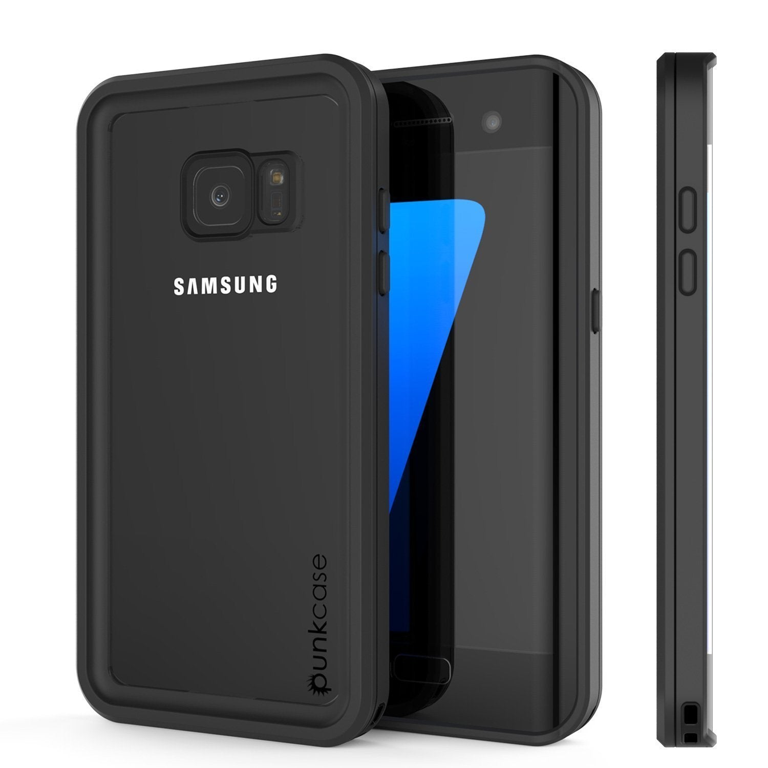 Galaxy S7 Edge Waterproof Case, Punkcase [Extreme Series] [Slim Fit] Armor Cover W/ Built In Screen Protector [BLACK]