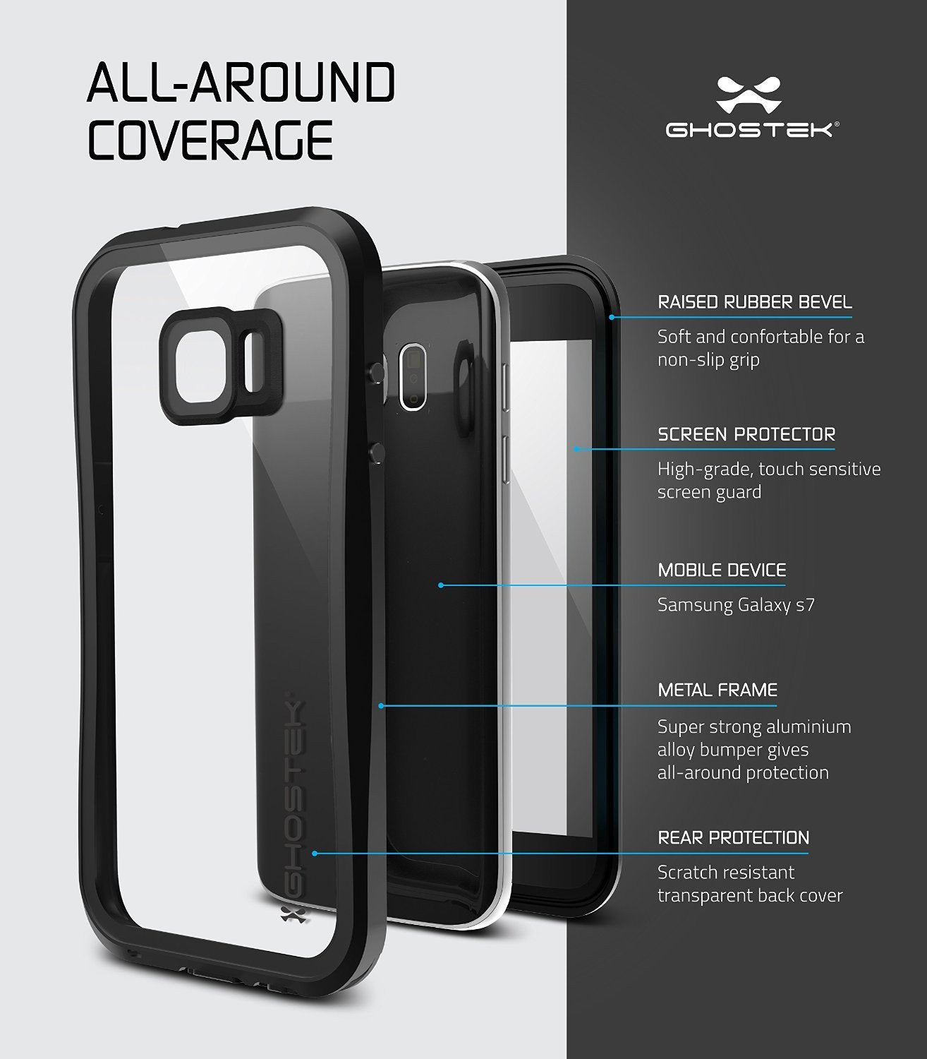 Galaxy S7 Waterproof Case, Ghostek® Atomic 2.0 Black Water/Shock/Dirt/Snow Proof | Lifetime Warranty