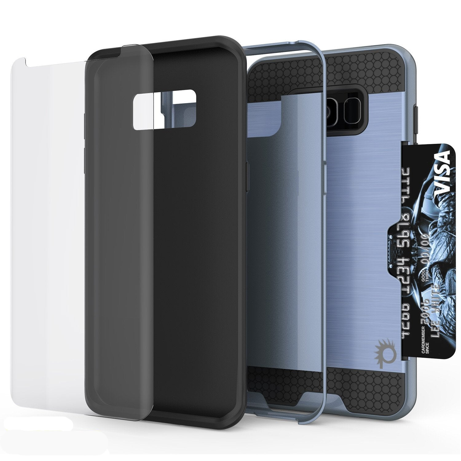 Galaxy S8 Case, PUNKcase [SLOT Series] Dual-Layer Armor Cover w/Integrated Anti-Shock System, Credit Card Slot & Screen Protector [Navy]