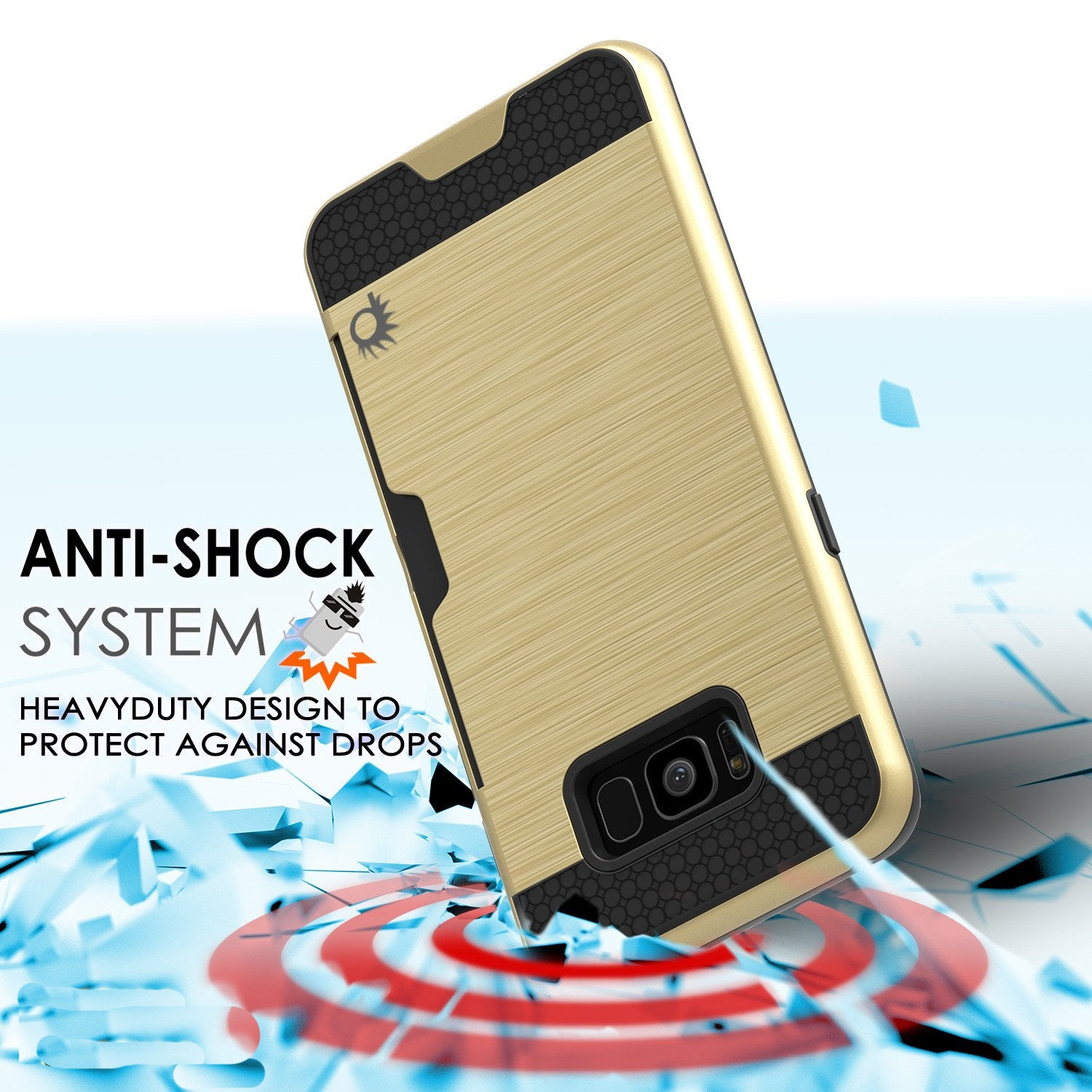 Galaxy S8 Case, PUNKcase [SLOT Series] Dual-Layer Armor Cover w/Integrated Anti-Shock System, Credit Card Slot & Screen Protector [Gold]