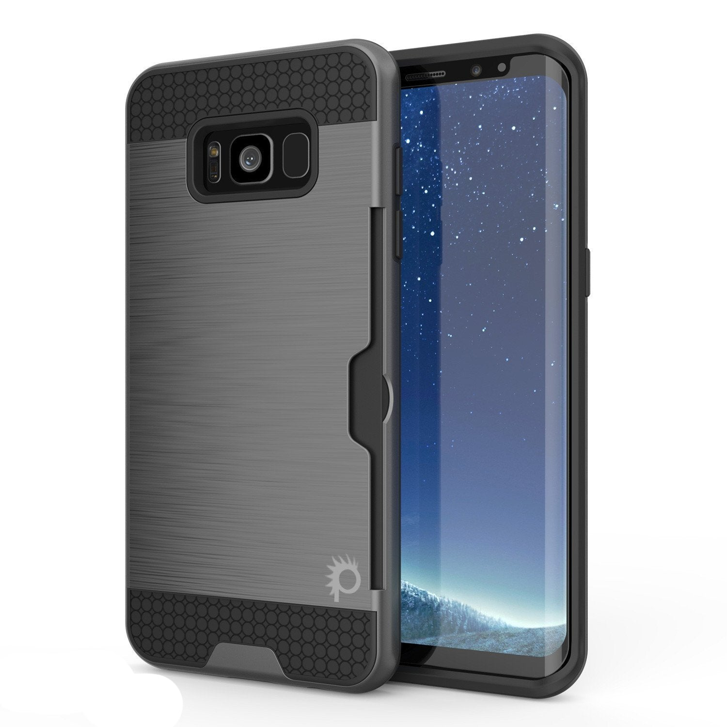 Galaxy S8 Case, PUNKcase [SLOT Series] Dual-Layer Armor Cover w/Integrated Anti-Shock System, Credit Card Slot & Screen Protector [Grey]
