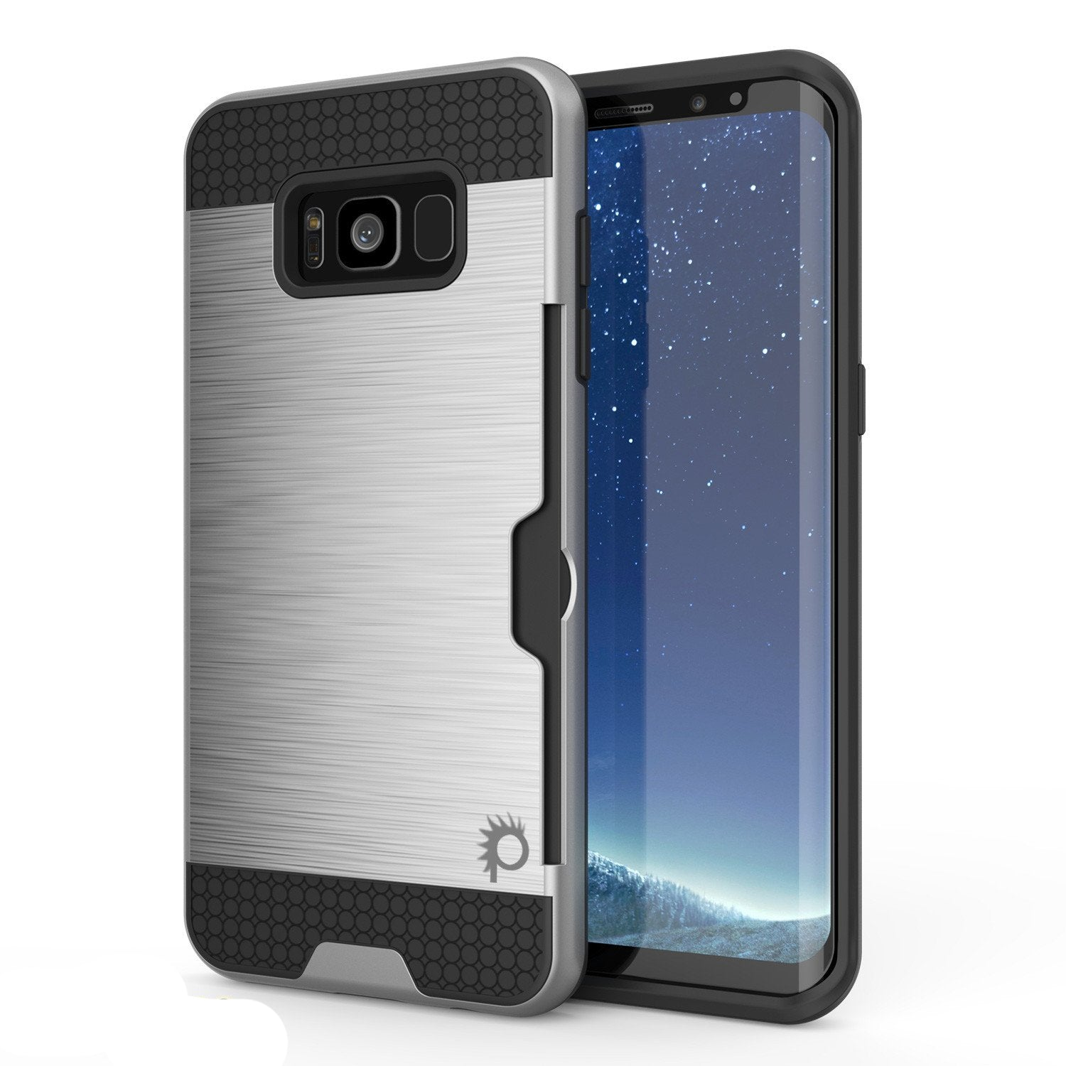 Galaxy S8 Case, PUNKcase [SLOT Series] Dual-Layer Armor Cover w/Integrated Anti-Shock System, Credit Card Slot & Screen Protector [Silver]
