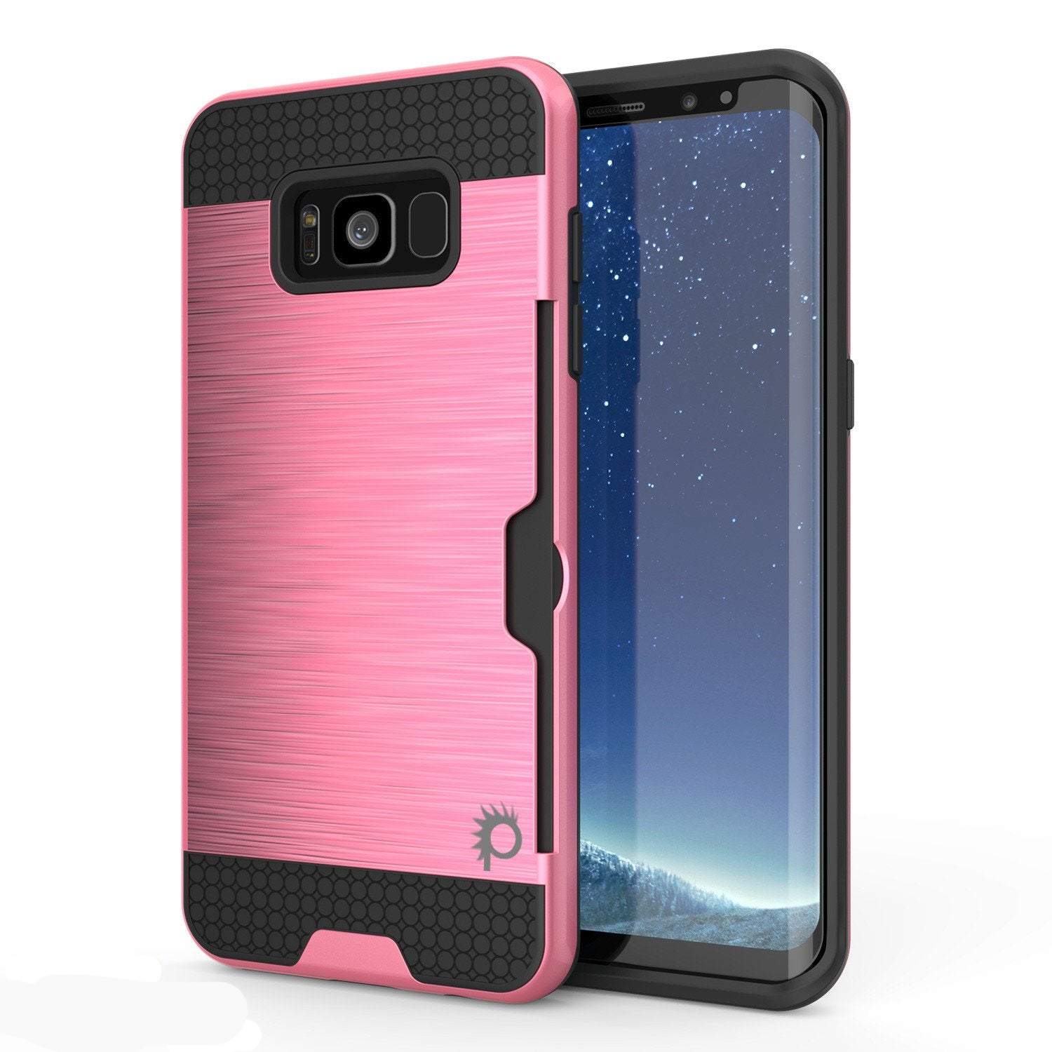 Galaxy S8 Case, PUNKcase [SLOT Series] Dual-Layer Armor Cover w/Integrated Anti-Shock System, Credit Card Slot & Screen Protector [Pink]