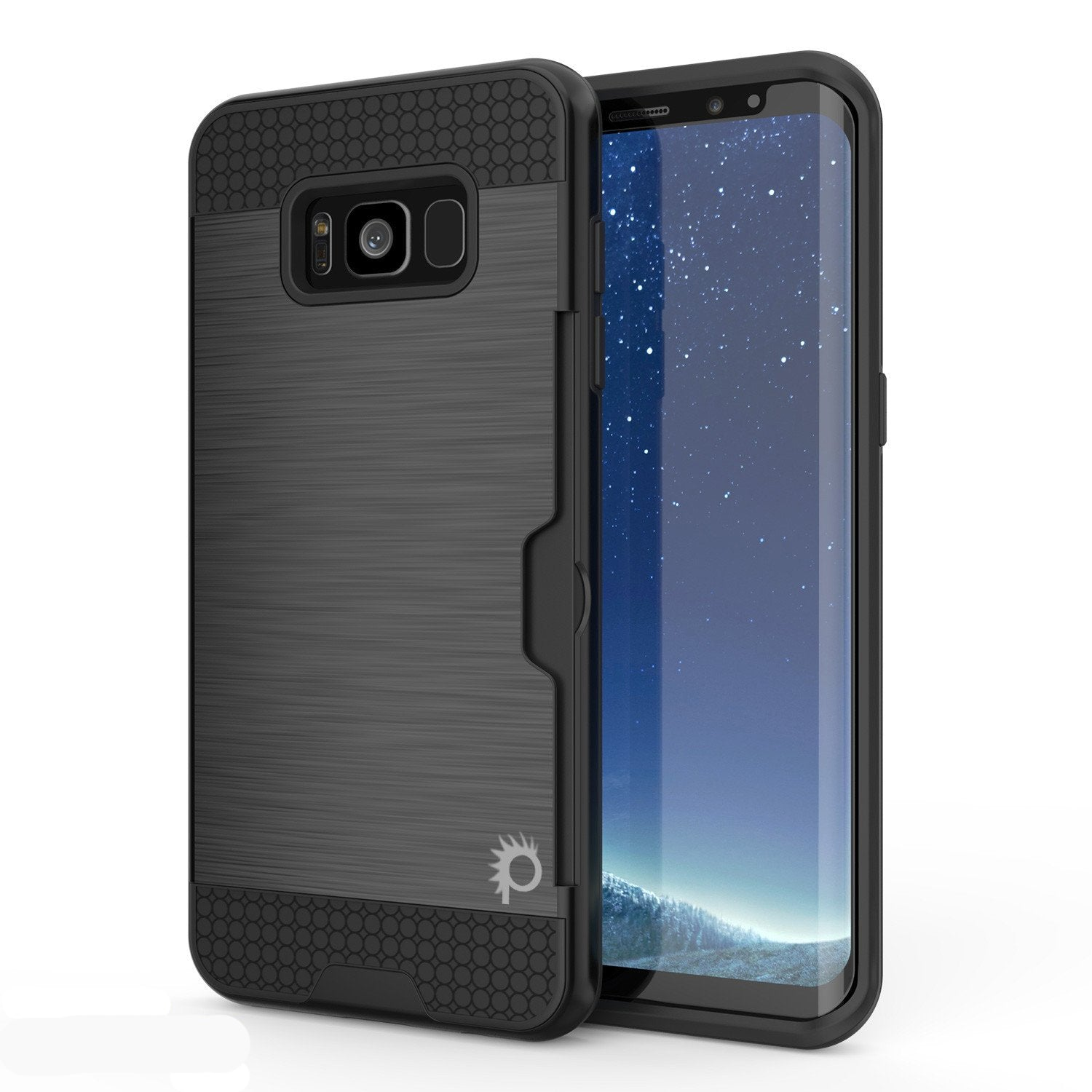 Galaxy S8 Case, PUNKcase [SLOT Series] Dual-Layer Armor Cover w/Integrated Anti-Shock System, Credit Card Slot & Screen Protector [Black]