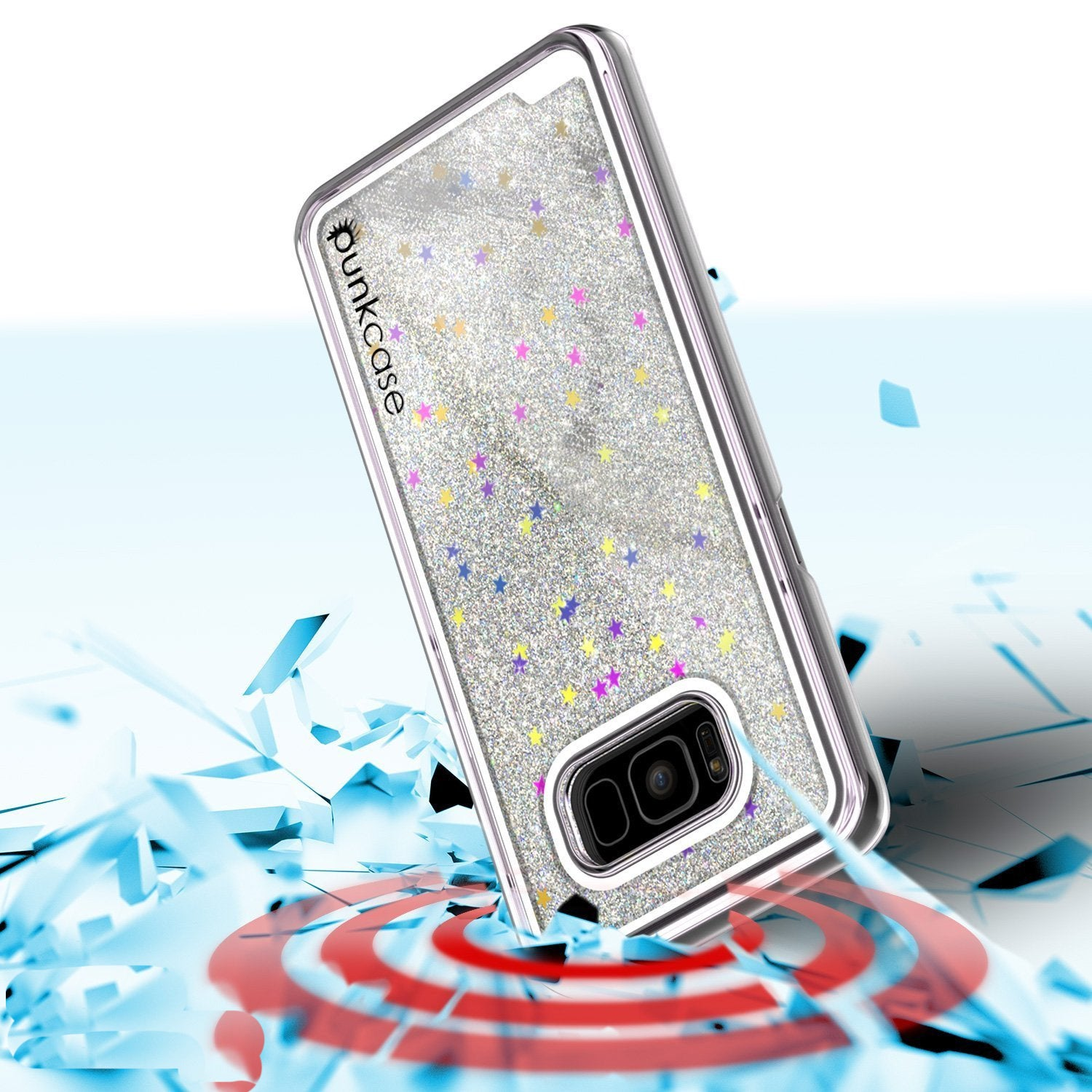 Galaxy S8 Case, Punkcase Liquid Silver Series Protective Dual Layer Floating Glitter Cover