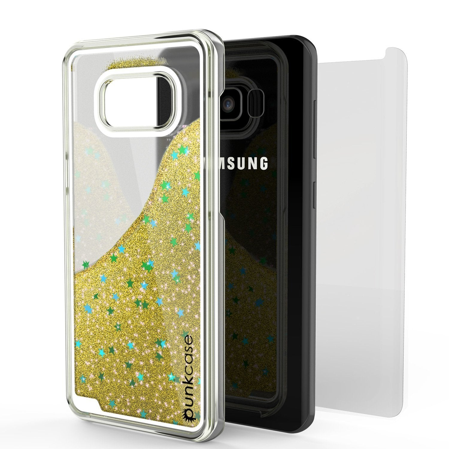 Galaxy S8 Case, Punkcase [Liquid Series] Protective Dual Layer Floating Glitter Cover [Gold]