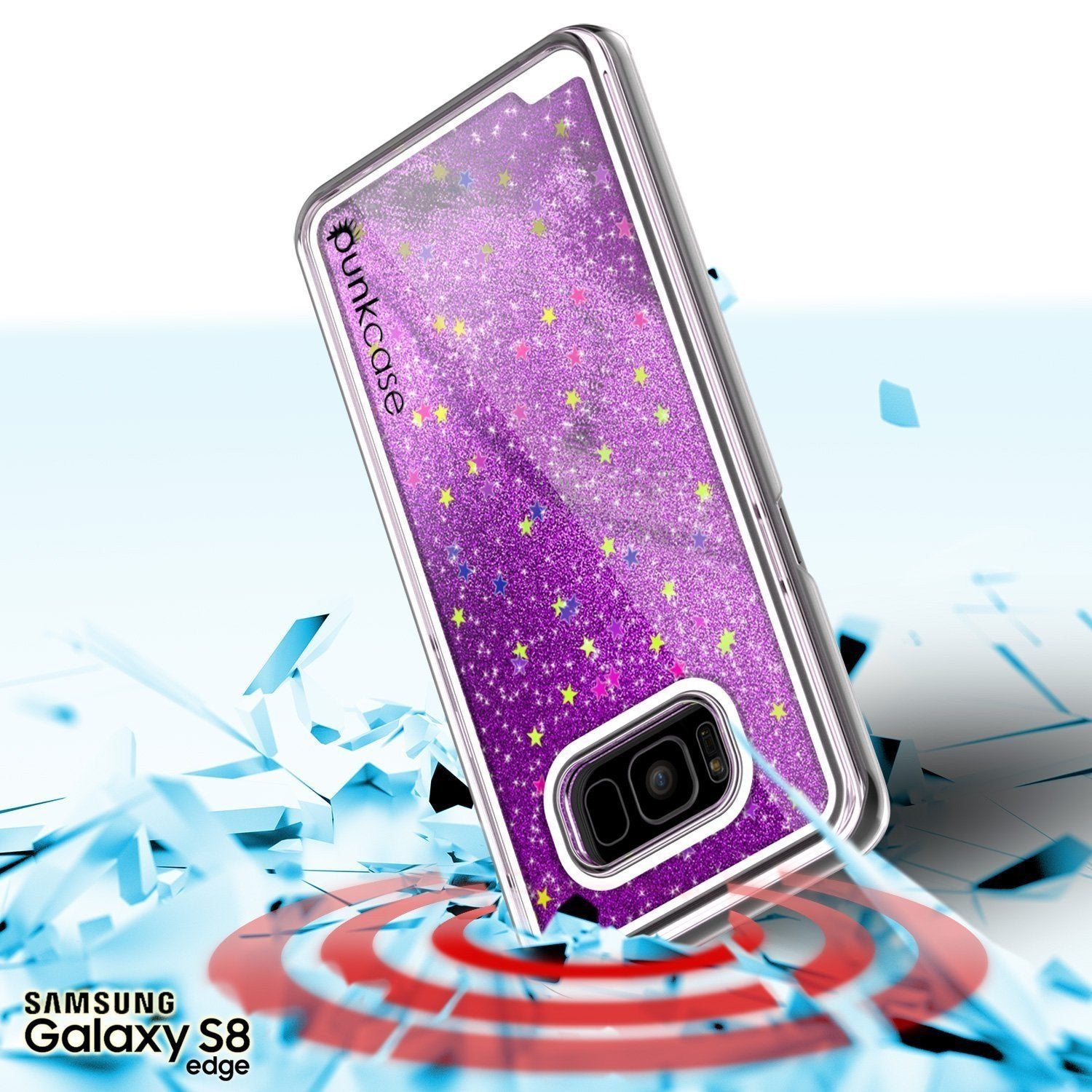 Galaxy S8 Case, Punkcase [Liquid Series] Protective Dual Layer Floating Glitter Cover [Purple]