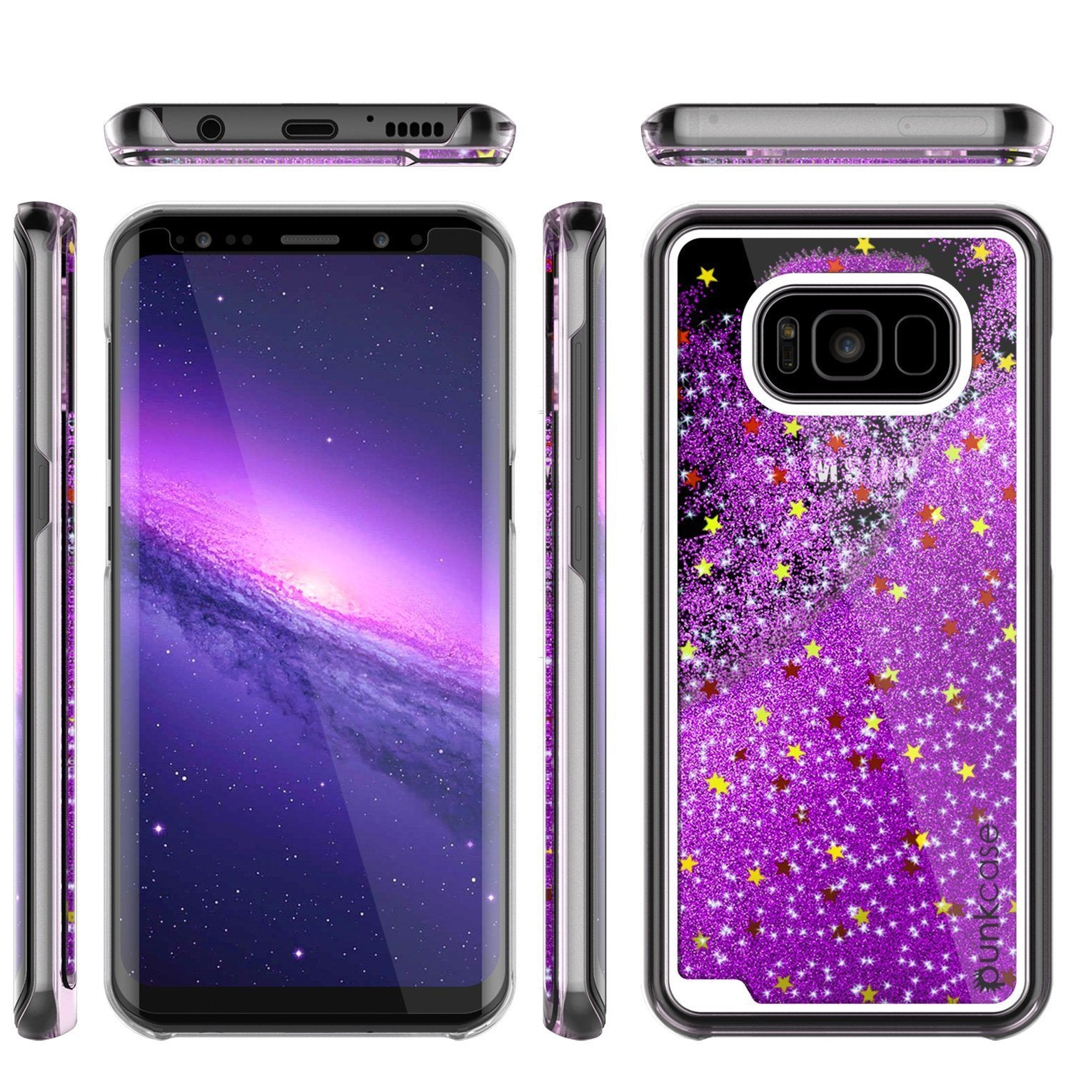 Galaxy S8 Case, Punkcase Liquid Purple Series Protective Dual Layer Floating Glitter Cover