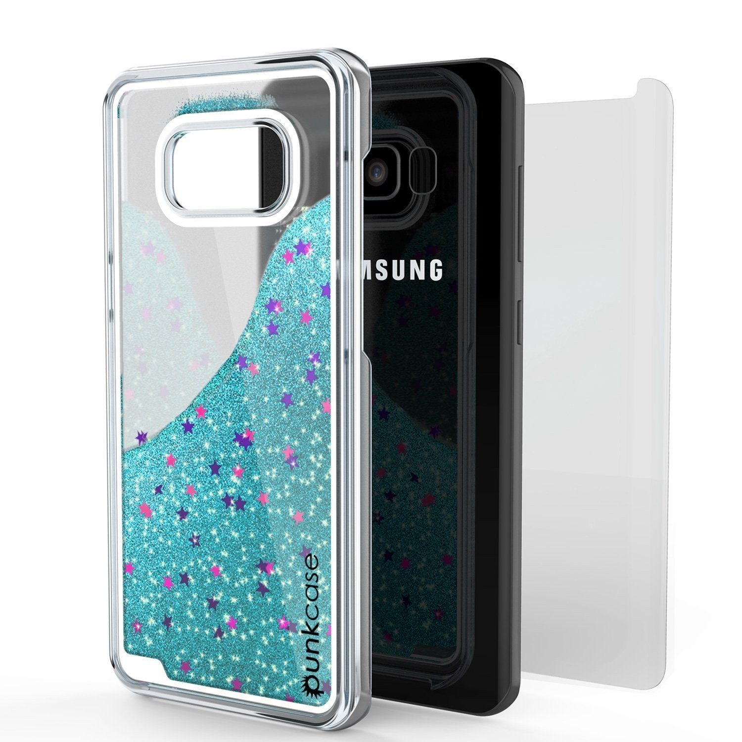 Galaxy S8 Case, Punkcase Liquid Teal Series Protective Dual Layer Floating Glitter Cover