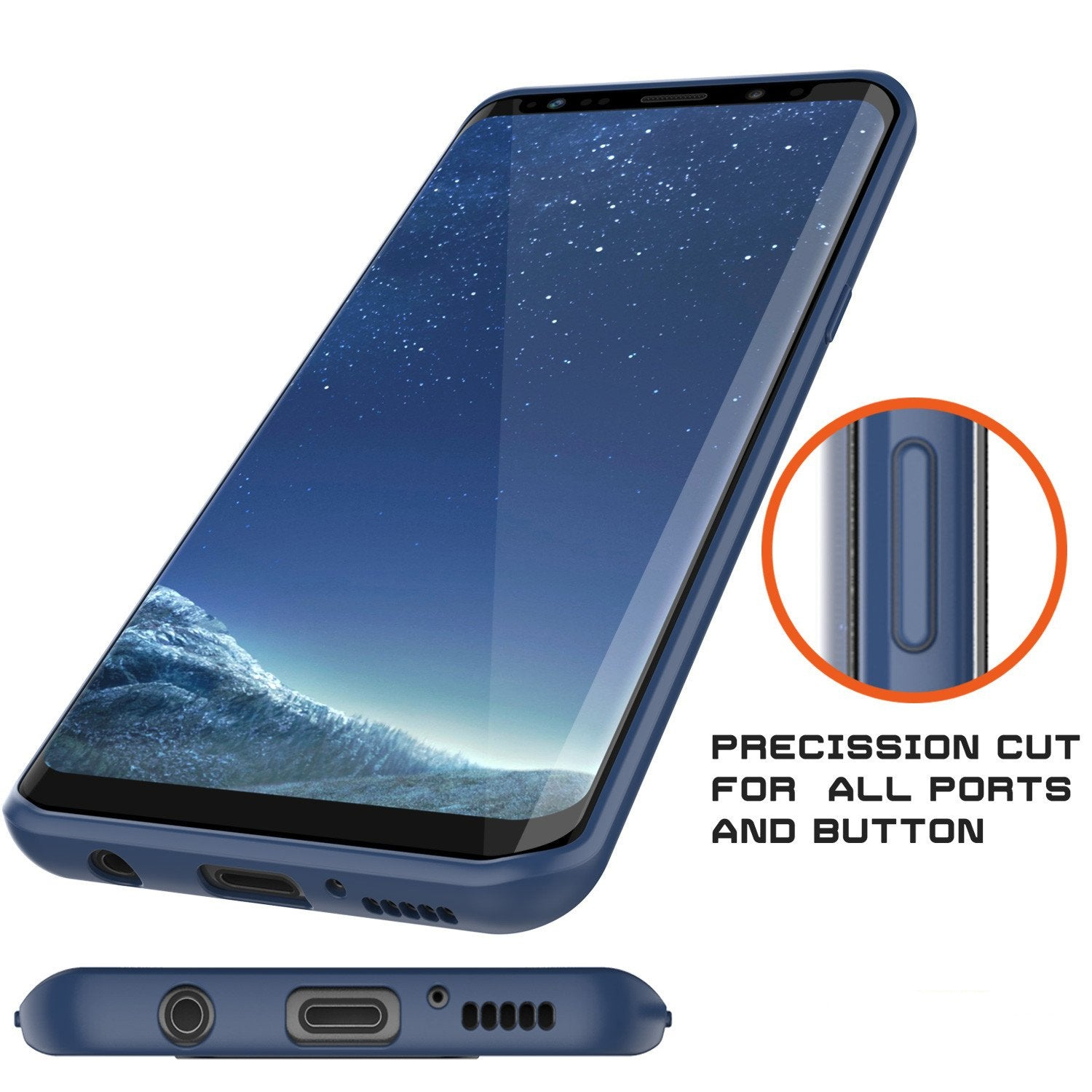 Galaxy S8 Case, Punkcase [MASK Series] [NAVY] Full Body Hybrid Dual Layer TPU Cover W/ Protective PUNKSHIELD Screen Protector