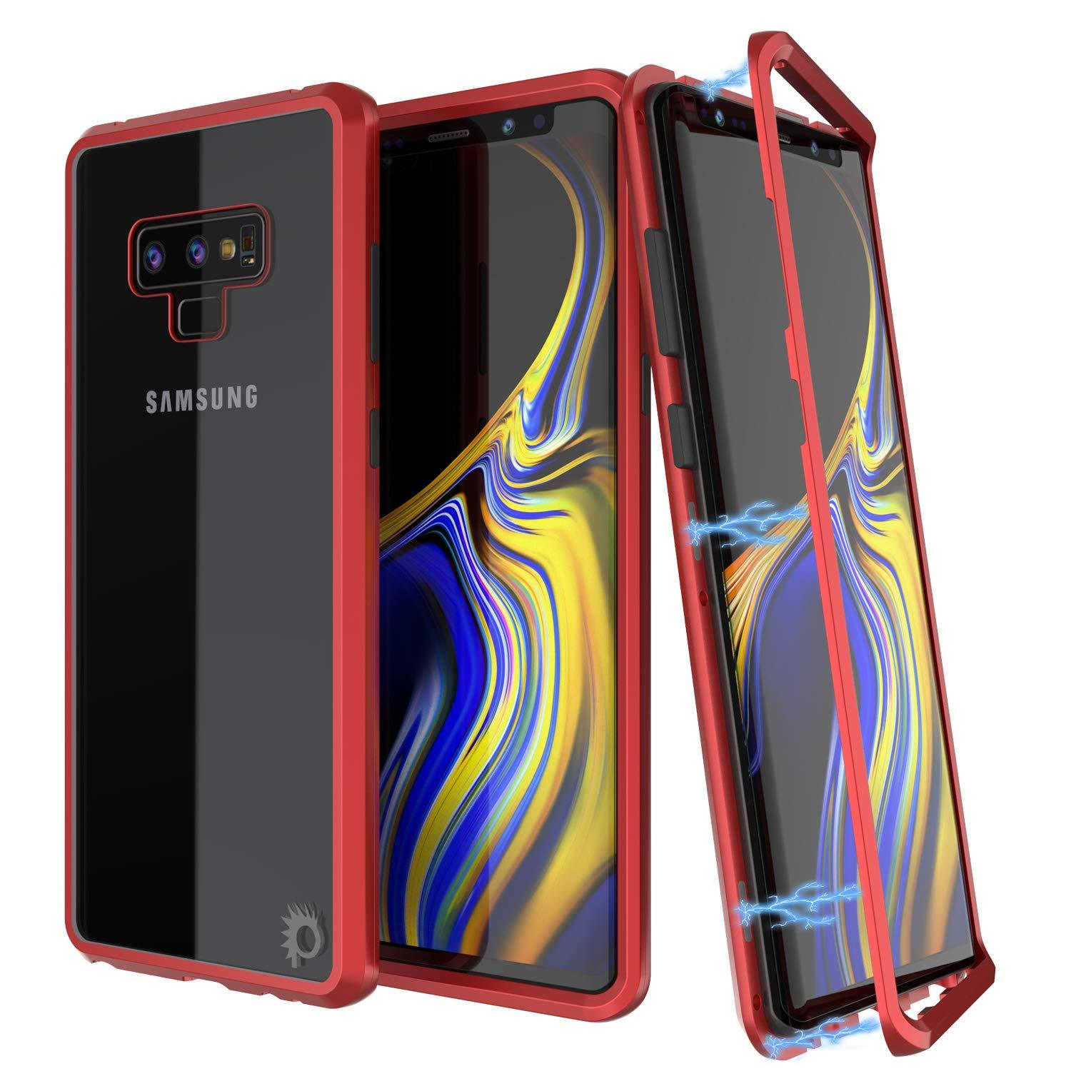 Galaxy Note 9 Case, Punkcase Magnetix 2.0 Protective TPU Cover W/ Tempered Glass Screen Protector [Red]
