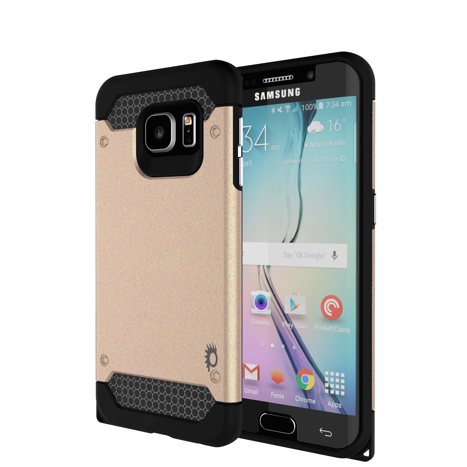 Galaxy s6 EDGE Plus Case PunkCase Galactic Gold Series Slim Armor Soft Cover w/ Screen Protector