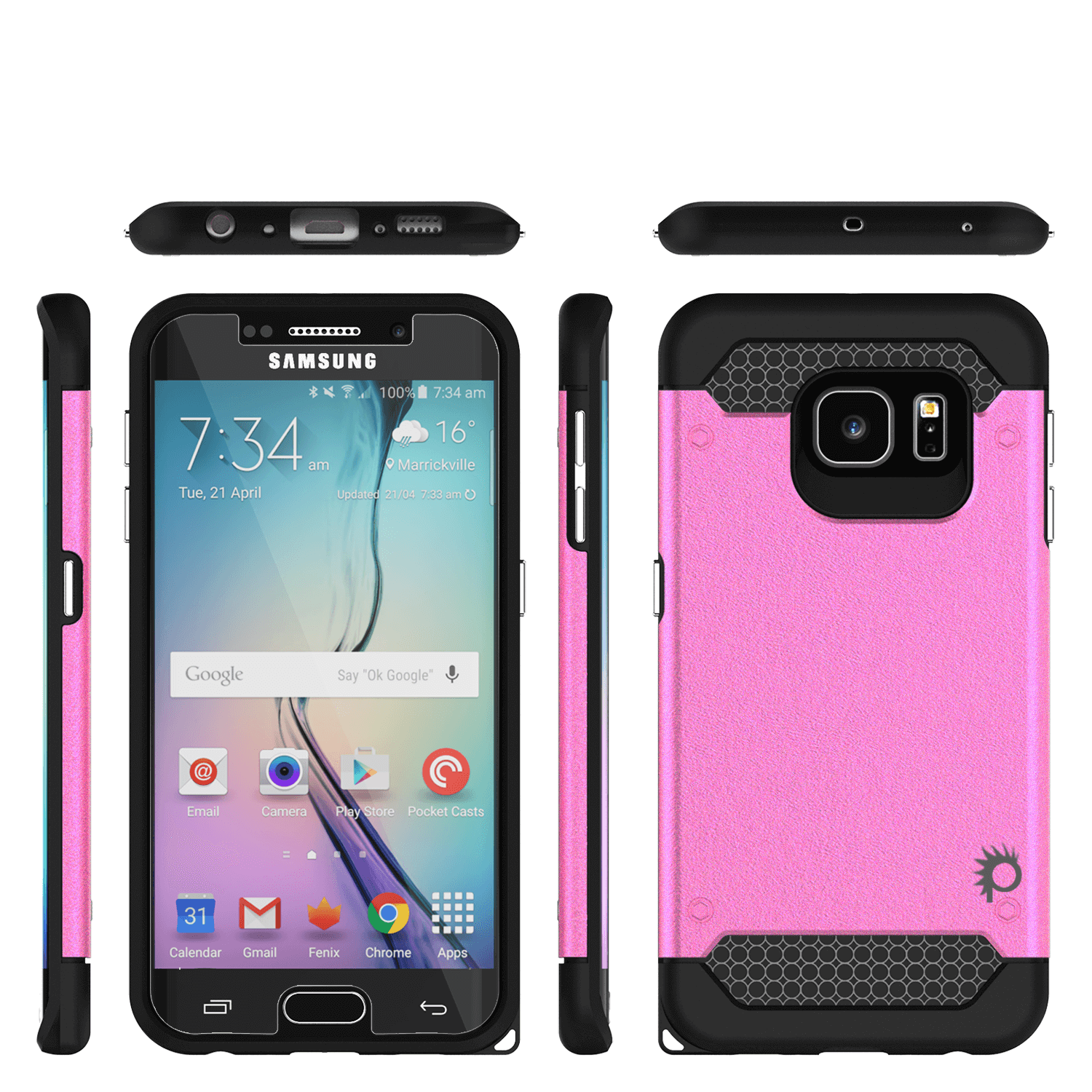 Galaxy s6 EDGE Plus Case PunkCase Galactic Pink Series Slim Armor Soft Cover w/ Screen Protector