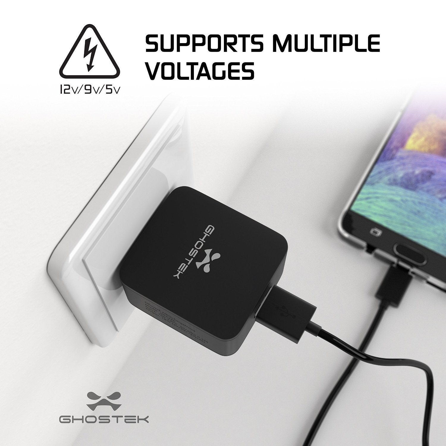 Ghostek® NRGchargeQuickCharge 2.0 Rapid High-speed Fast Wall Home Black Charger w/ Micro USB Cable