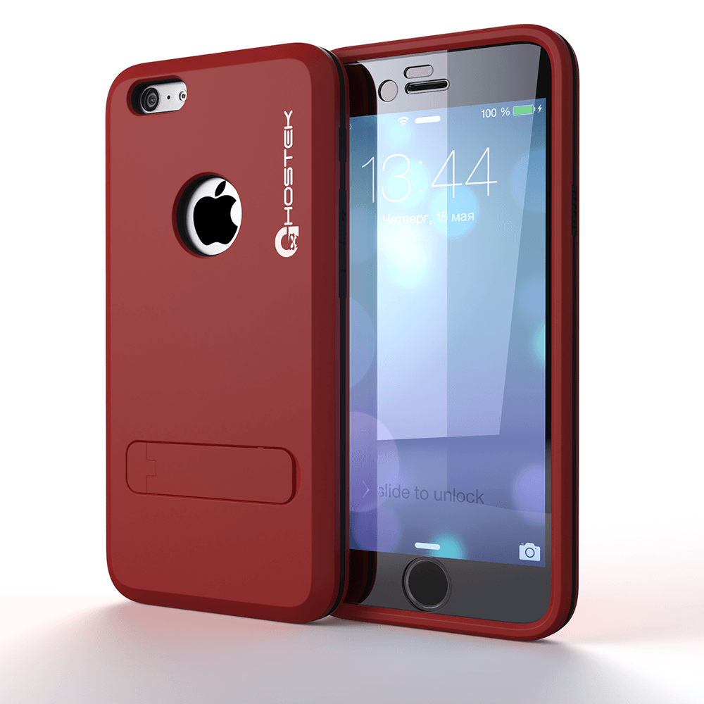 iphone-6-plus-waterproof-case-ghostek-bullet-red-apple-iphone-6-plus-waterproof-case-w-attached-screen-protector-lifetime-warranty-apple-iphone-6-plus-slim-fitted-waterproof-shock-proof-dust-proof-dirt-proof-snow-proof-cover-case-ghocas204